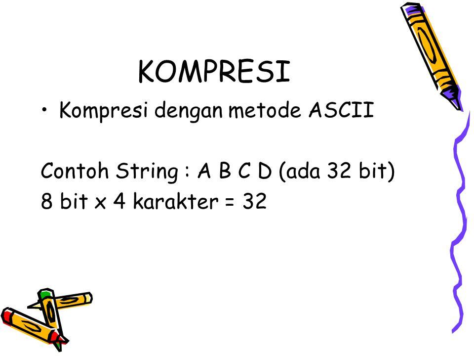 KOMPRESI Kompresi dengan metode ASCII Contoh String : A B C D (ada 32 bit) 8 bit x 4 karakter = 32