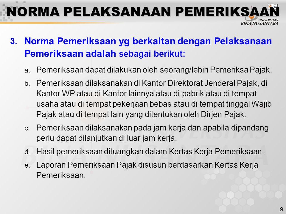 9 NORMA PELAKSANAAN PEMERIKSAAN 3. Norma Pemeriksaan yg berkaitan dengan Pelaksanaan Pemeriksaan adalah sebagai berikut: a. Pemeriksaan dapat dilakuka