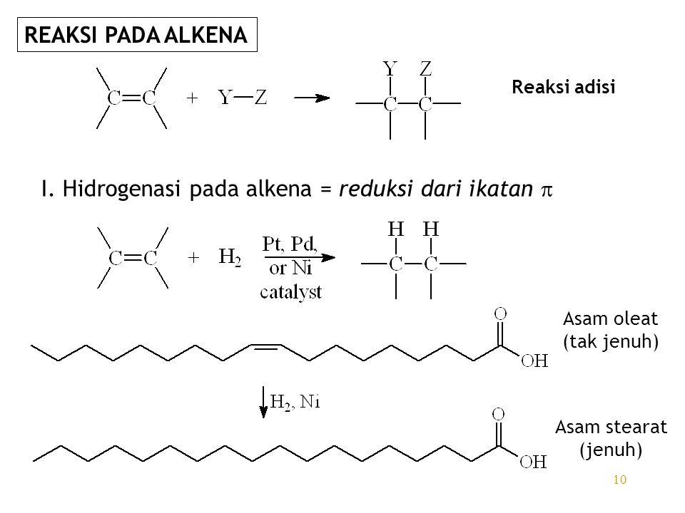 10 I. Hidrogenasi pada alkena = reduksi dari ikatan  Reaksi adisi Asam oleat (tak jenuh) Asam stearat (jenuh) REAKSI PADA ALKENA