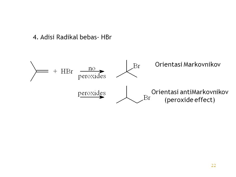 22 4. Adisi Radikal bebas- HBr Orientasi Markovnikov Orientasi antiMarkovnikov (peroxide effect)
