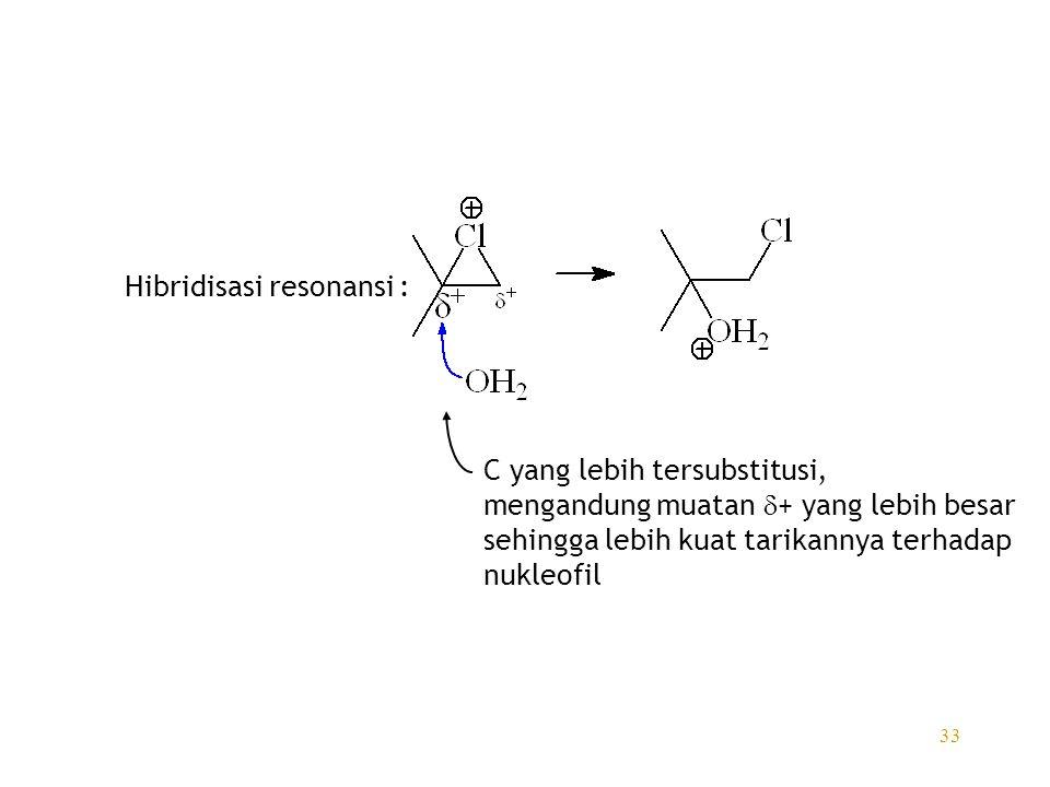 33 Hibridisasi resonansi : C yang lebih tersubstitusi, mengandung muatan  + yang lebih besar sehingga lebih kuat tarikannya terhadap nukleofil