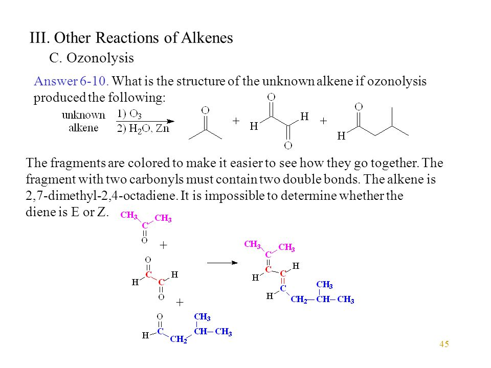 45 III. Other Reactions of Alkenes C. Ozonolysis Answer 6-10. What is the structure of the unknown alkene if ozonolysis produced the following: The fr