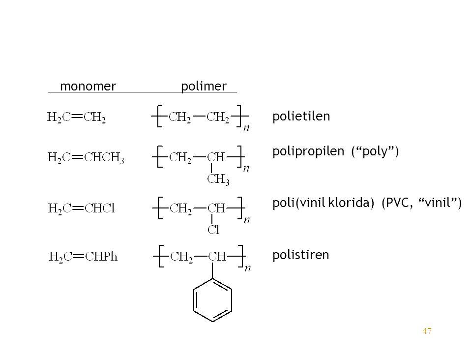 "47 monomerpolimer polietilen polipropilen (""poly"") poli(vinil klorida) (PVC, ""vinil"") polistiren"
