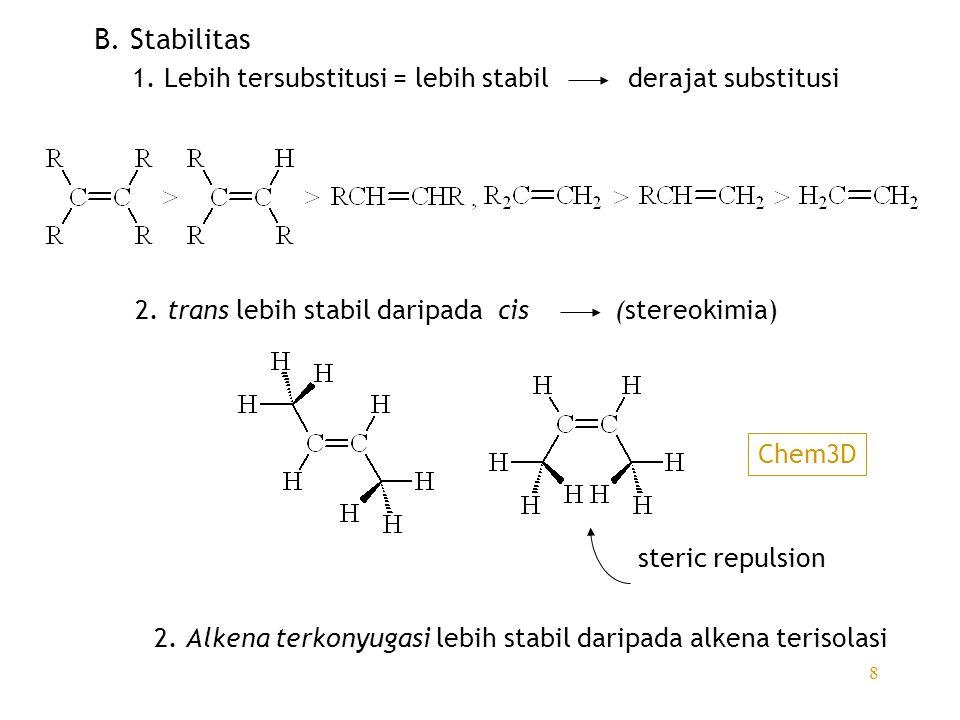 8 B. Stabilitas 1. Lebih tersubstitusi = lebih stabil derajat substitusi 2. trans lebih stabil daripada cis (stereokimia) steric repulsion Chem3D 2. A
