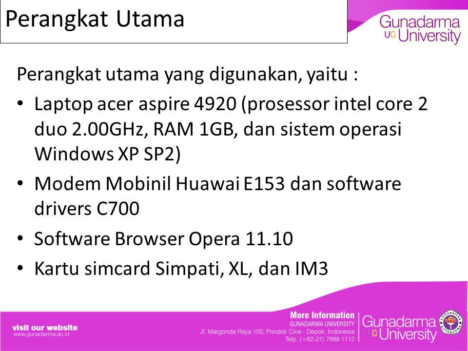 Perangkat Utama Perangkat utama yang digunakan, yaitu : Laptop acer aspire 4920 (prosessor intel core 2 duo 2.00GHz, RAM 1GB, dan sistem operasi Windo