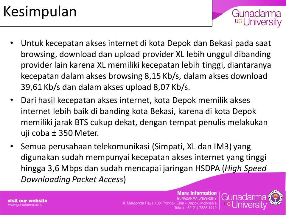 Kesimpulan Untuk kecepatan akses internet di kota Depok dan Bekasi pada saat browsing, download dan upload provider XL lebih unggul dibanding provider