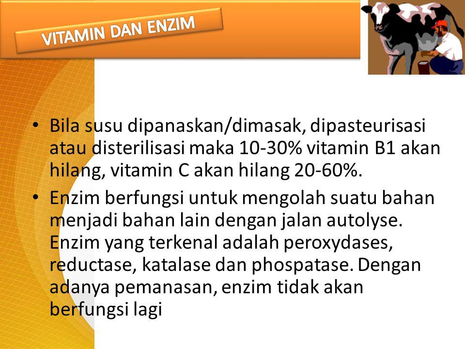 Bila susu dipanaskan/dimasak, dipasteurisasi atau disterilisasi maka 10-30% vitamin B1 akan hilang, vitamin C akan hilang 20-60%. Enzim berfungsi untu