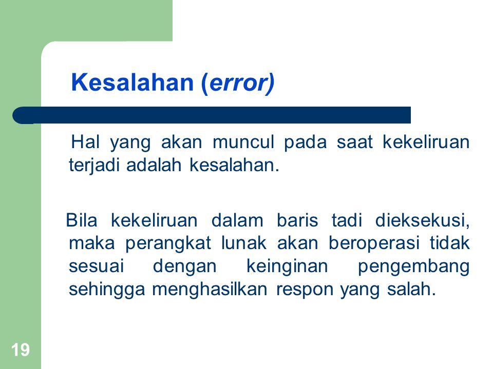 Kesalahan (error) Hal yang akan muncul pada saat kekeliruan terjadi adalah kesalahan. Bila kekeliruan dalam baris tadi dieksekusi, maka perangkat luna