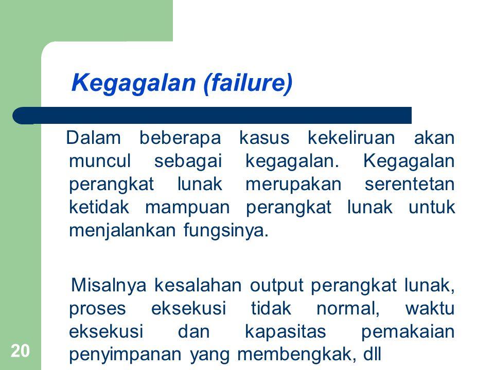 Kegagalan (failure) Dalam beberapa kasus kekeliruan akan muncul sebagai kegagalan.
