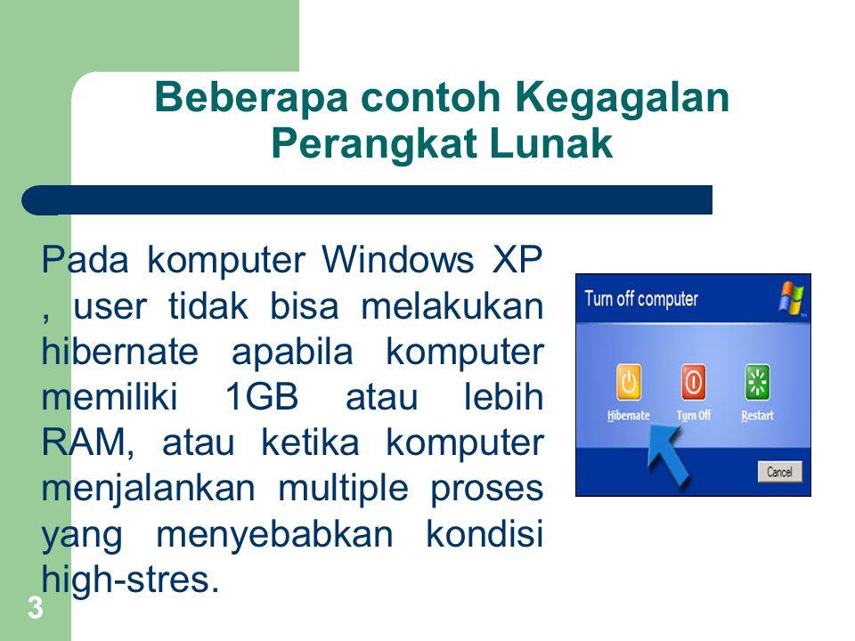 Beberapa contoh Kegagalan Perangkat Lunak Pada komputer Windows XP, user tidak bisa melakukan hibernate apabila komputer memiliki 1GB atau lebih RAM, atau ketika komputer menjalankan multiple proses yang menyebabkan kondisi high-stres.