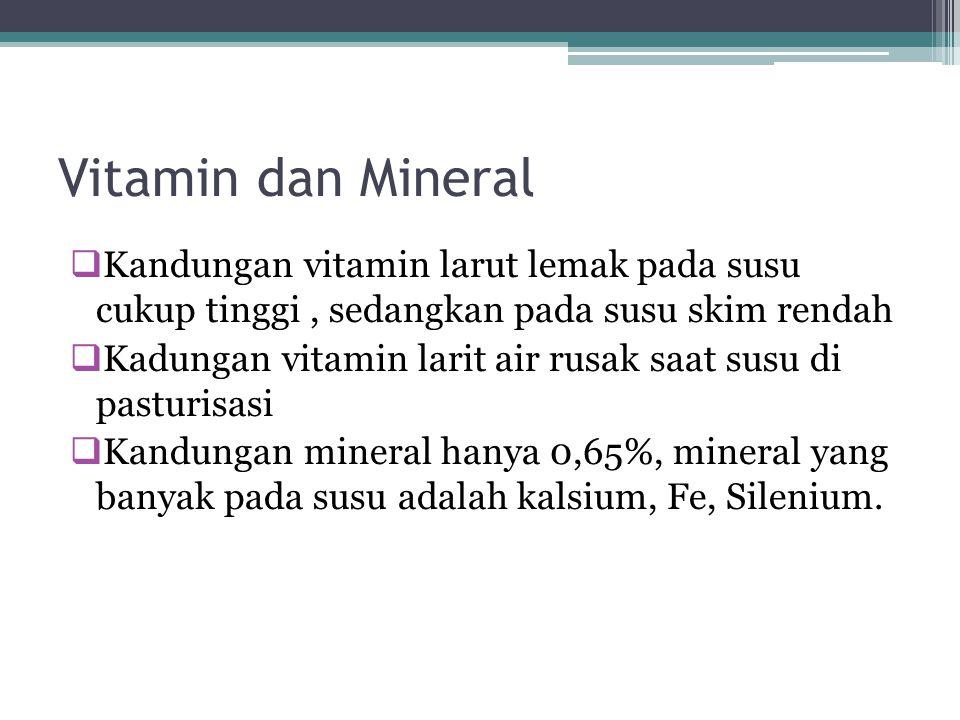 Vitamin dan Mineral  Kandungan vitamin larut lemak pada susu cukup tinggi, sedangkan pada susu skim rendah  Kadungan vitamin larit air rusak saat susu di pasturisasi  Kandungan mineral hanya 0,65%, mineral yang banyak pada susu adalah kalsium, Fe, Silenium.