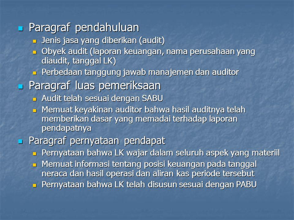 Paragraf pendahuluan Paragraf pendahuluan Jenis jasa yang diberikan (audit) Jenis jasa yang diberikan (audit) Obyek audit (laporan keuangan, nama peru