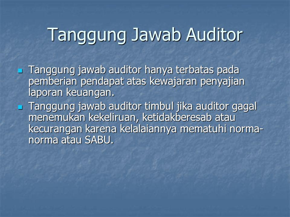 Tanggung Jawab Auditor Tanggung jawab auditor hanya terbatas pada pemberian pendapat atas kewajaran penyajian laporan keuangan. Tanggung jawab auditor