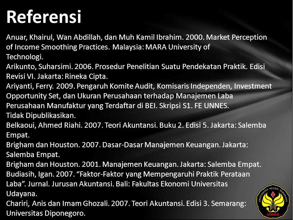 Referensi Anuar, Khairul, Wan Abdillah, dan Muh Kamil Ibrahim. 2000. Market Perception of Income Smoothing Practices. Malaysia: MARA University of Tec