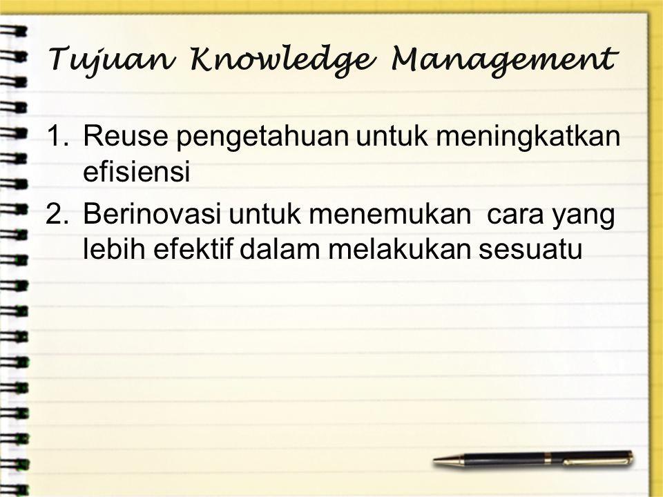 Tujuan Knowledge Management 1.Reuse pengetahuan untuk meningkatkan efisiensi 2.Berinovasi untuk menemukan cara yang lebih efektif dalam melakukan sesu