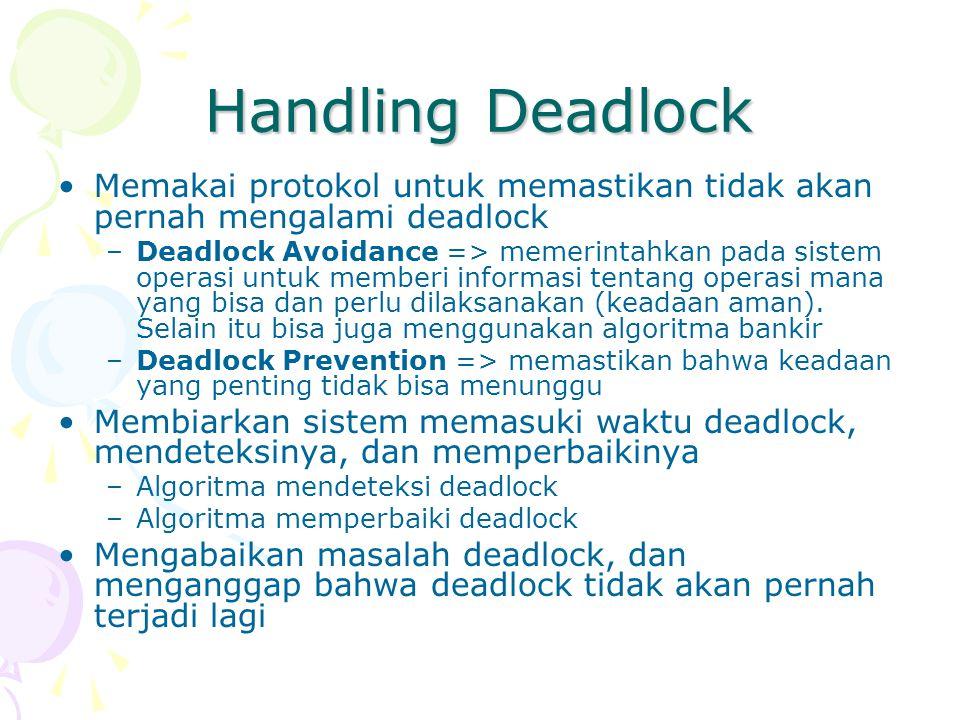 Handling Deadlock Memakai protokol untuk memastikan tidak akan pernah mengalami deadlock –Deadlock Avoidance => memerintahkan pada sistem operasi untu