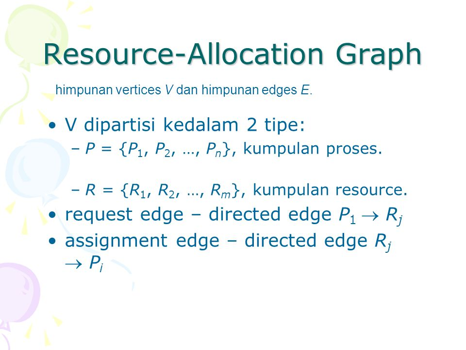 Resource-Allocation Graph V dipartisi kedalam 2 tipe: –P = {P 1, P 2, …, P n }, kumpulan proses.