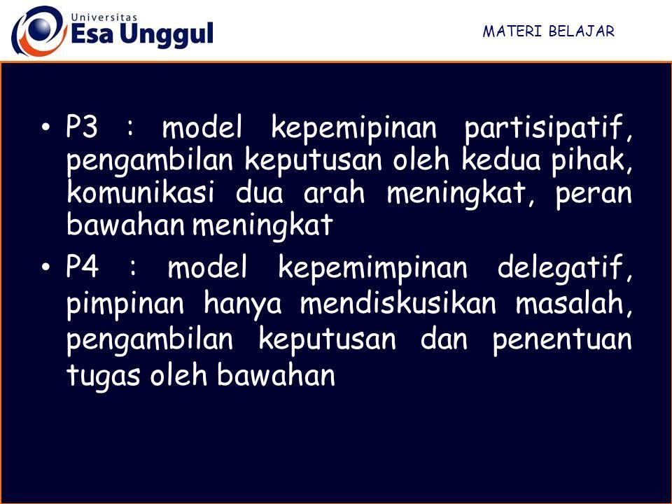 MATERI BELAJAR P3 : model kepemipinan partisipatif, pengambilan keputusan oleh kedua pihak, komunikasi dua arah meningkat, peran bawahan meningkat P4