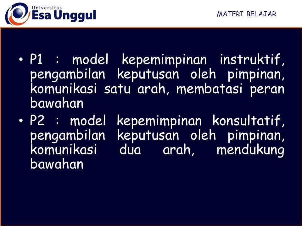 MATERI BELAJAR P3 : model kepemipinan partisipatif, pengambilan keputusan oleh kedua pihak, komunikasi dua arah meningkat, peran bawahan meningkat P4 : model kepemimpinan delegatif, pimpinan hanya mendiskusikan masalah, pengambilan keputusan dan penentuan tugas oleh bawahan