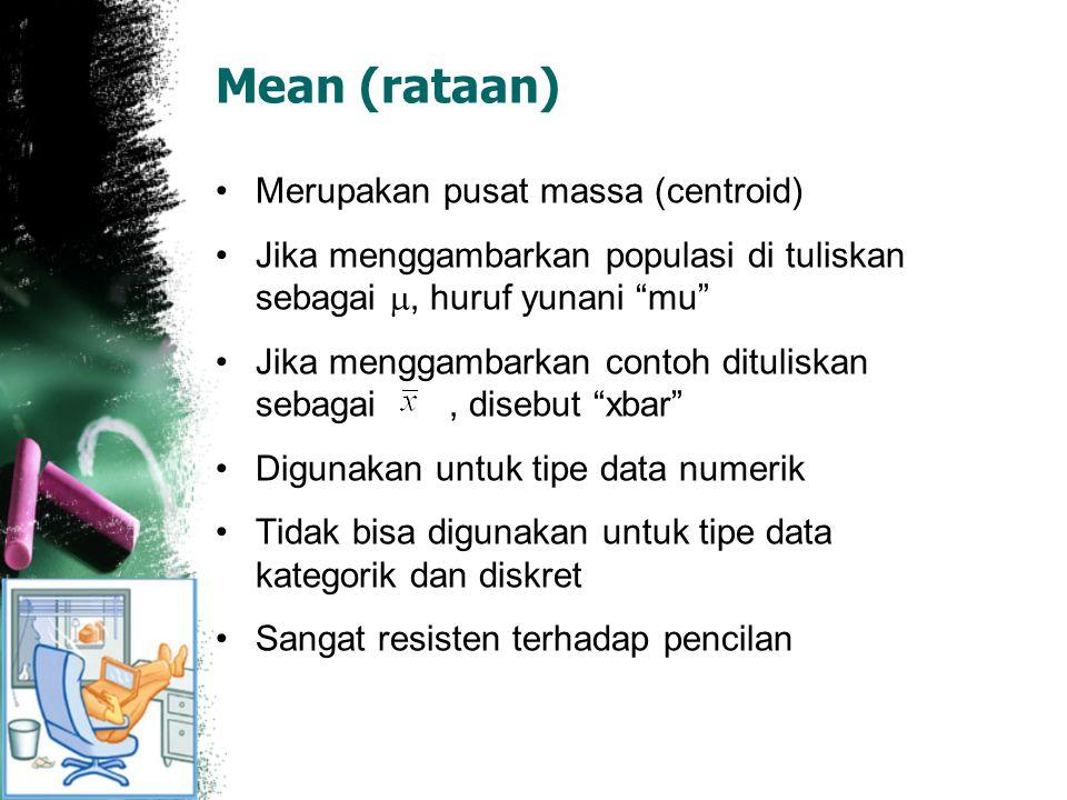 "Mean (rataan) Merupakan pusat massa (centroid) Jika menggambarkan populasi di tuliskan sebagai , huruf yunani ""mu"" Jika menggambarkan contoh ditulisk"