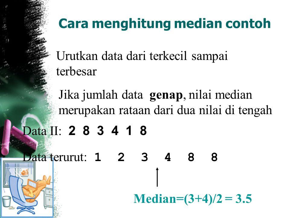Cara menghitung median contoh Urutkan data dari terkecil sampai terbesar Jika jumlah data genap, nilai median merupakan rataan dari dua nilai di tenga