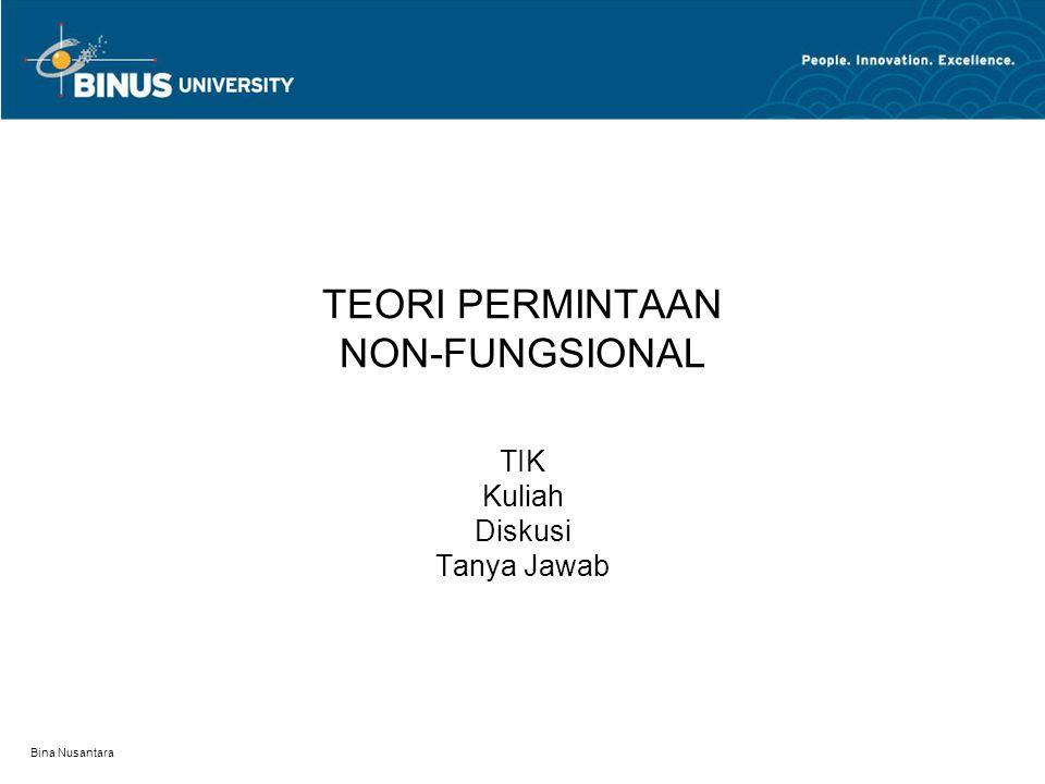 Bina Nusantara Snob Effect(Efek Gengsi) Snob Effect D1 D2 D3 D P1 P2 Q1 Q2Q3 Qd P Harga di P1 permintaan di Q1.