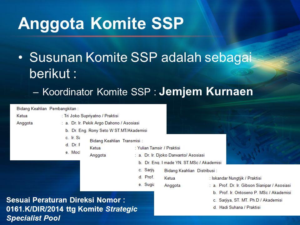 Anggota Komite SSP Susunan Komite SSP adalah sebagai berikut : –Koordinator Komite SSP : Jemjem Kurnaen Sesuai Peraturan Direksi Nomor : 0161.K/DIR/20