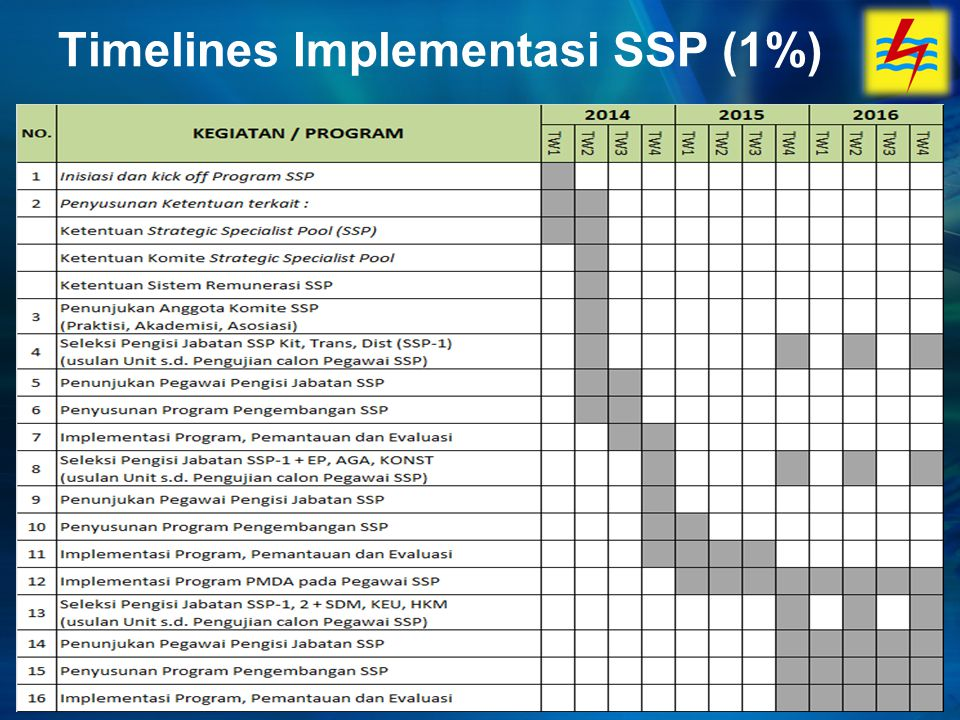 Timelines Implementasi SSP (1%)