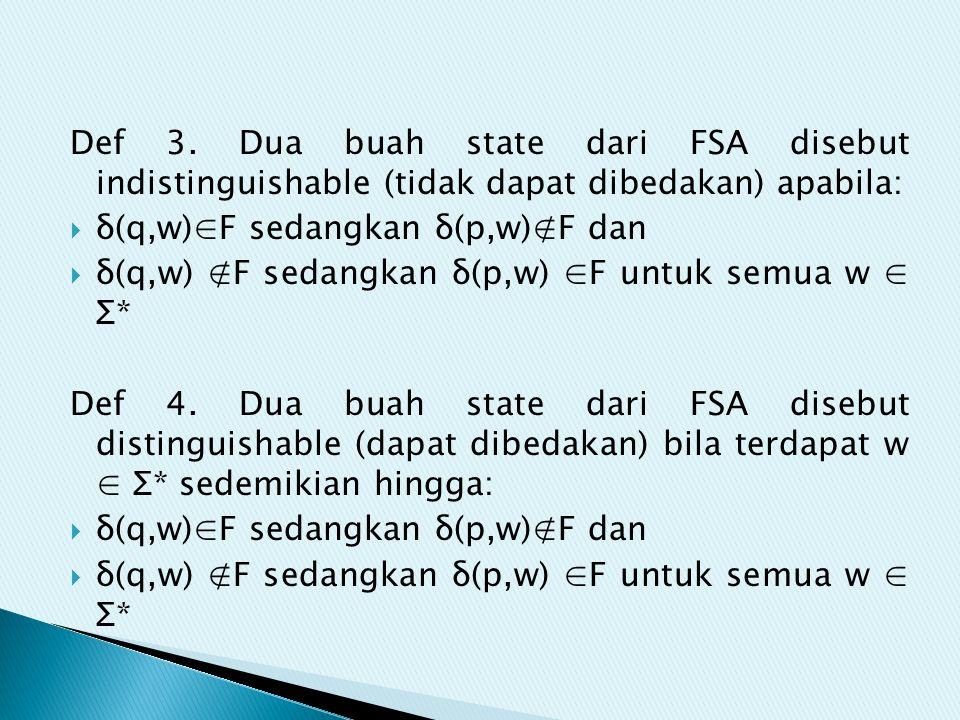 Def 3. Dua buah state dari FSA disebut indistinguishable (tidak dapat dibedakan) apabila:  δ(q,w)∈F sedangkan δ(p,w)∉F dan  δ(q,w) ∉F sedangkan δ(p,