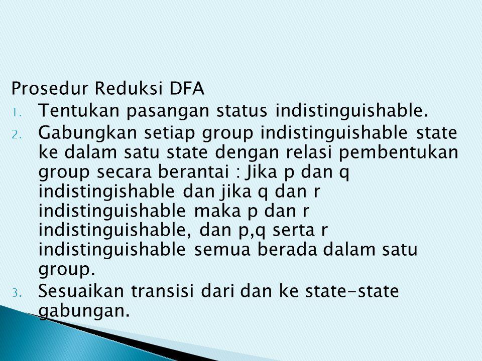 Prosedur Reduksi DFA 1. Tentukan pasangan status indistinguishable. 2. Gabungkan setiap group indistinguishable state ke dalam satu state dengan relas