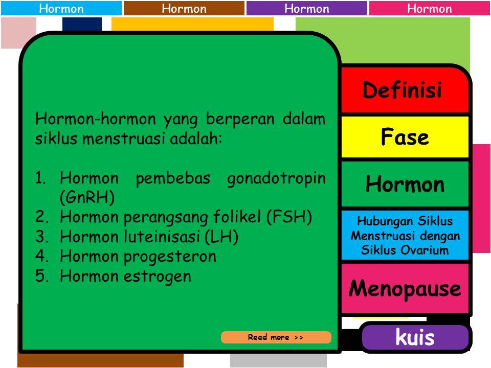 Siklus menstruasi manusia terdiri dari beberapa fase: 1.Fase yang terjadi di uterus (Siklus Menstruasi), terdiri atas: a.Fase aliran menstruasi b.Fase