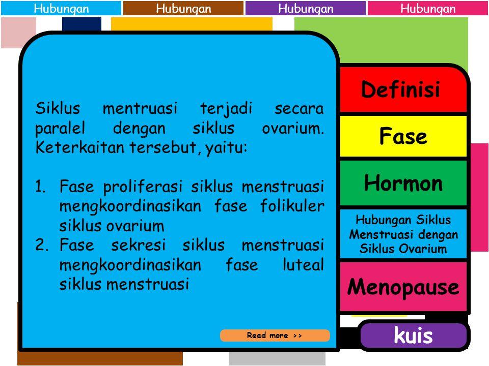 Hormon-hormon yang berperan dalam siklus menstruasi adalah: 1.Hormon pembebas gonadotropin (GnRH) 2.Hormon perangsang folikel (FSH) 3.Hormon luteinisa