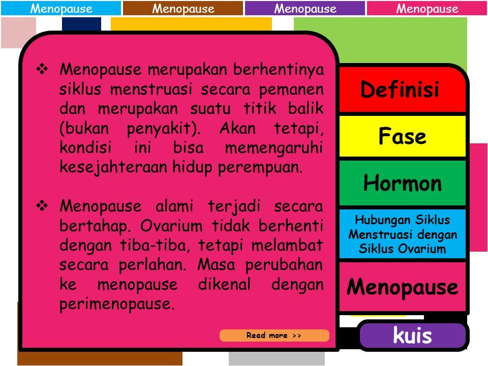 Siklus mentruasi terjadi secara paralel dengan siklus ovarium. Keterkaitan tersebut, yaitu: 1.Fase proliferasi siklus menstruasi mengkoordinasikan fas