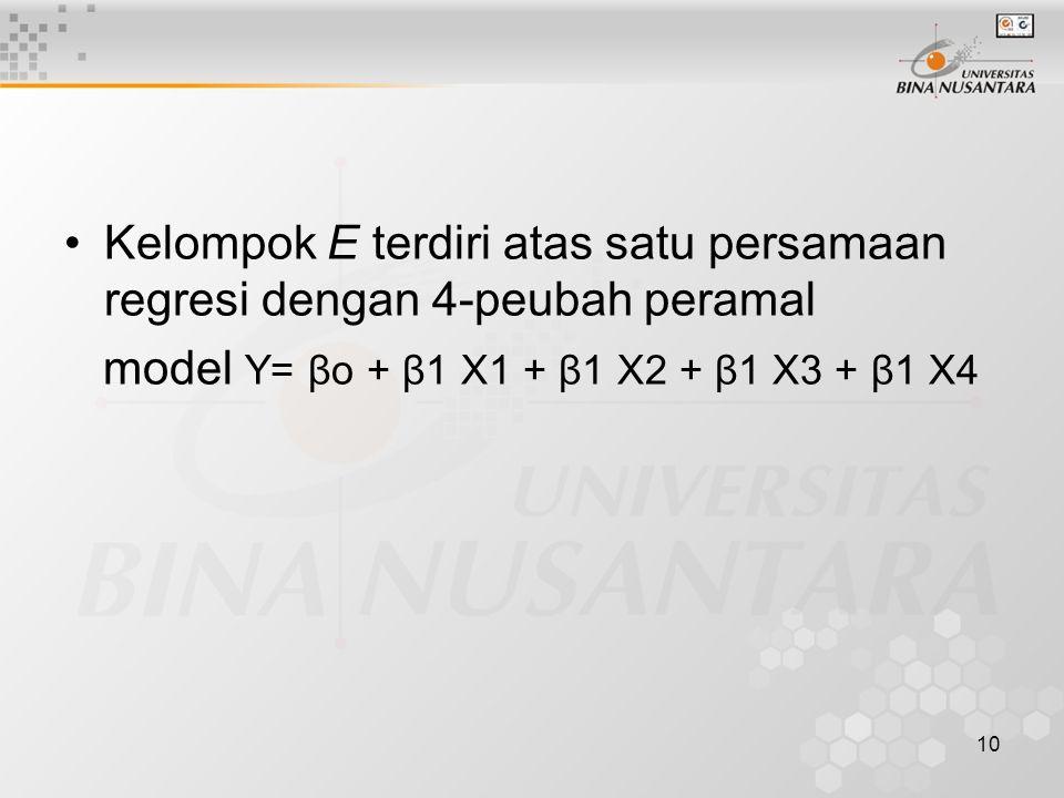 10 Kelompok E terdiri atas satu persamaan regresi dengan 4-peubah peramal model Y= βo + β1 X1 + β1 X2 + β1 X3 + β1 X4