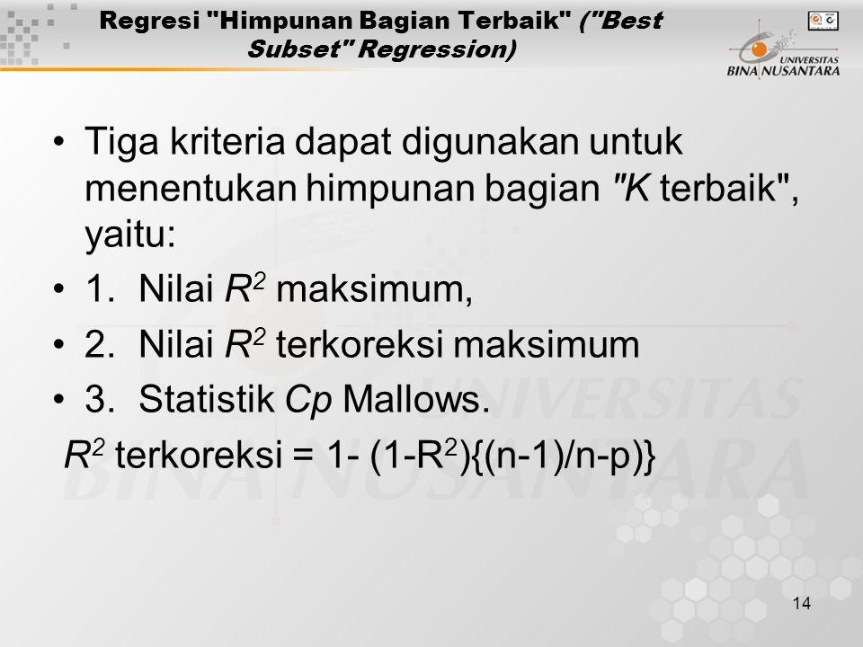 14 Regresi Himpunan Bagian Terbaik ( Best Subset Regression) Tiga kriteria dapat digunakan untuk menentukan himpunan bagian K terbaik , yaitu: 1.Nilai R 2 maksimum, 2.Nilai R 2 terkoreksi maksimum 3.Statistik Cp Mallows.