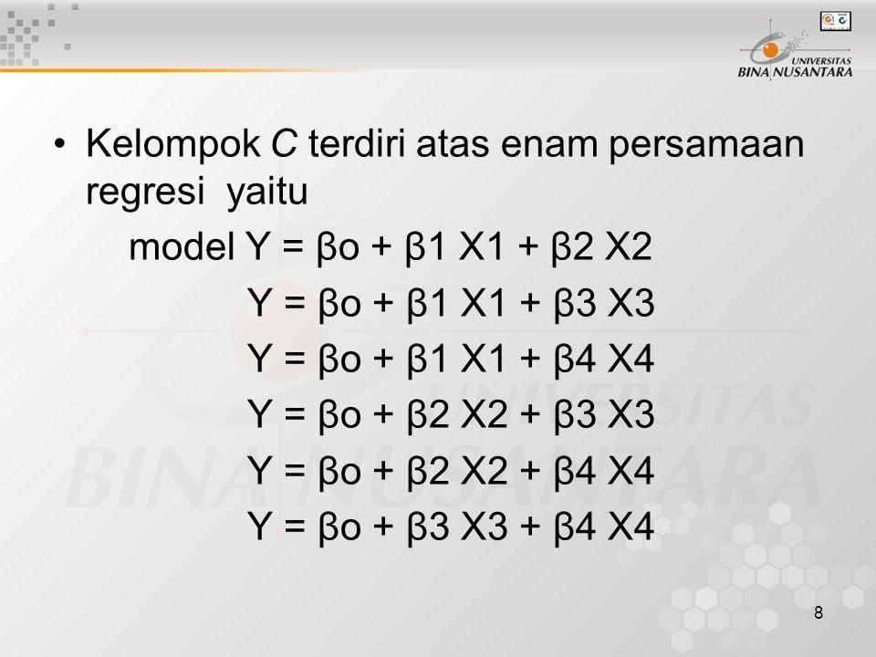 8 Kelompok C terdiri atas enam persamaan regresi yaitu model Y = βo + β1 X1 + β2 X2 Y = βo + β1 X1 + β3 X3 Y = βo + β1 X1 + β4 X4 Y = βo + β2 X2 + β3 X3 Y = βo + β2 X2 + β4 X4 Y = βo + β3 X3 + β4 X4