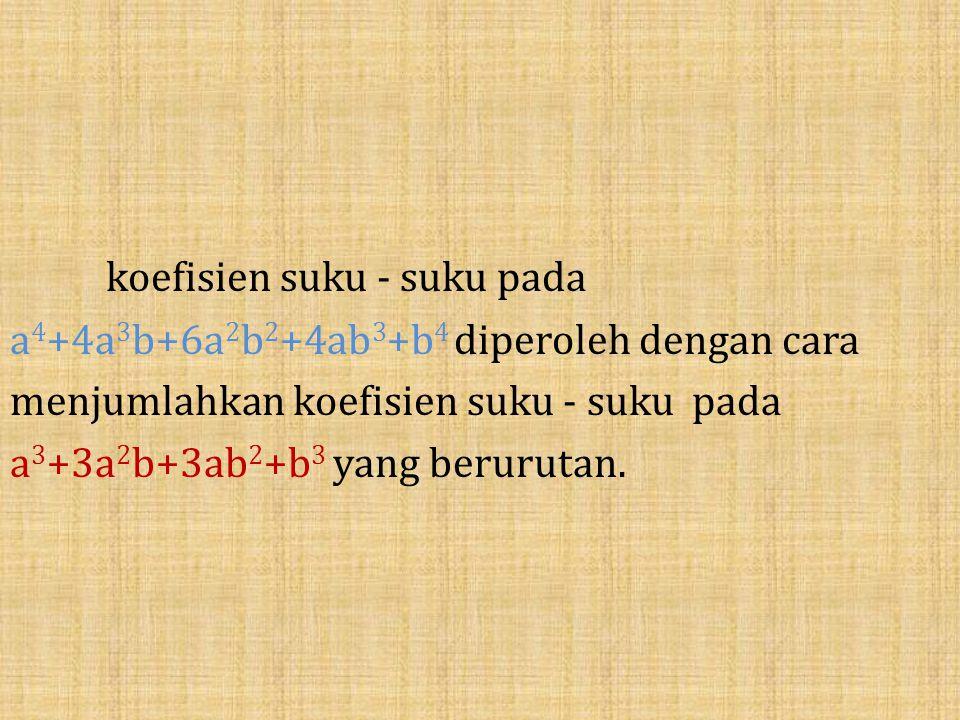 koefisien suku - suku pada a 4 +4a 3 b+6a 2 b 2 +4ab 3 +b 4 diperoleh dengan cara menjumlahkan koefisien suku - suku pada a 3 +3a 2 b+3ab 2 +b 3 yang