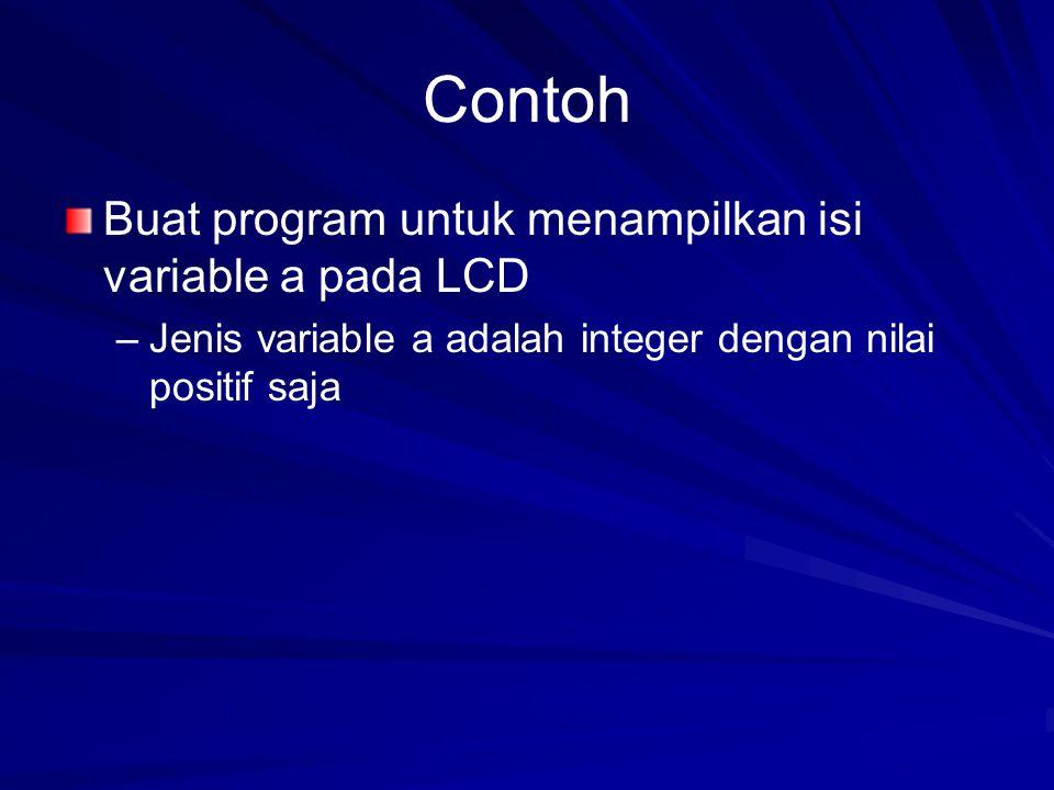 Contoh Buat program untuk menampilkan isi variable a pada LCD – –Jenis variable a adalah integer dengan nilai positif saja