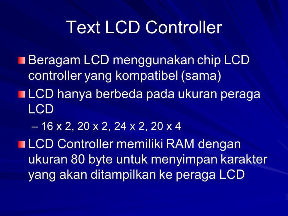 Text LCD Controller Beragam LCD menggunakan chip LCD controller yang kompatibel (sama) LCD hanya berbeda pada ukuran peraga LCD – –16 x 2, 20 x 2, 24 x 2, 20 x 4 LCD Controller memiliki RAM dengan ukuran 80 byte untuk menyimpan karakter yang akan ditampilkan ke peraga LCD
