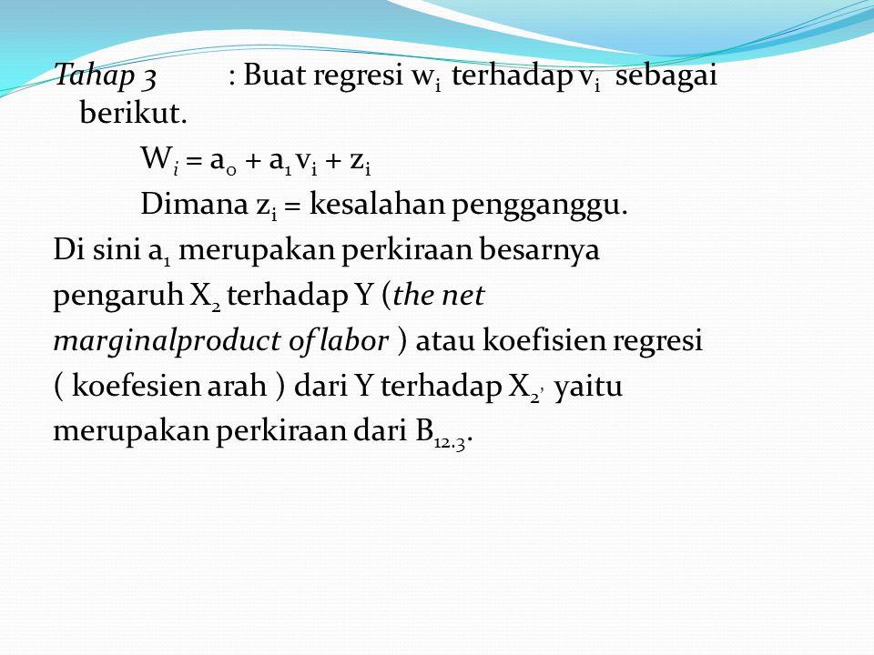 Tahap 3: Buat regresi w i terhadap v i sebagai berikut. W i = a 0 + a 1 v i + z i Dimana z i = kesalahan pengganggu. Di sini a 1 merupakan perkiraan b