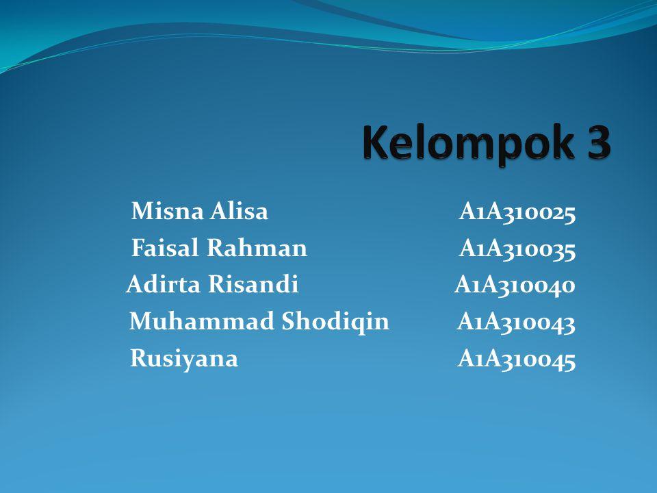 Misna Alisa A1A310025 Faisal RahmanA1A310035 Adirta RisandiA1A310040 Muhammad ShodiqinA1A310043 RusiyanaA1A310045
