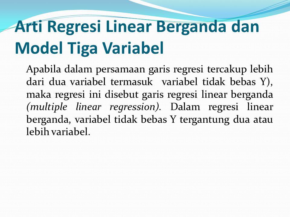 Arti Regresi Linear Berganda dan Model Tiga Variabel Apabila dalam persamaan garis regresi tercakup lebih dari dua variabel termasuk variabel tidak be