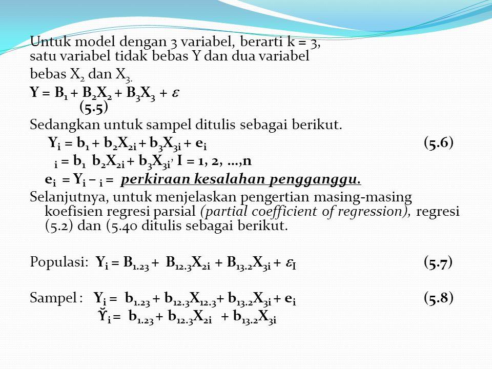 Untuk model dengan 3 variabel, berarti k = 3, satu variabel tidak bebas Y dan dua variabel bebas X 2 dan X 3. Y = B 1 + B 2 X 2 + B 3 X 3 +  (5.5) Se