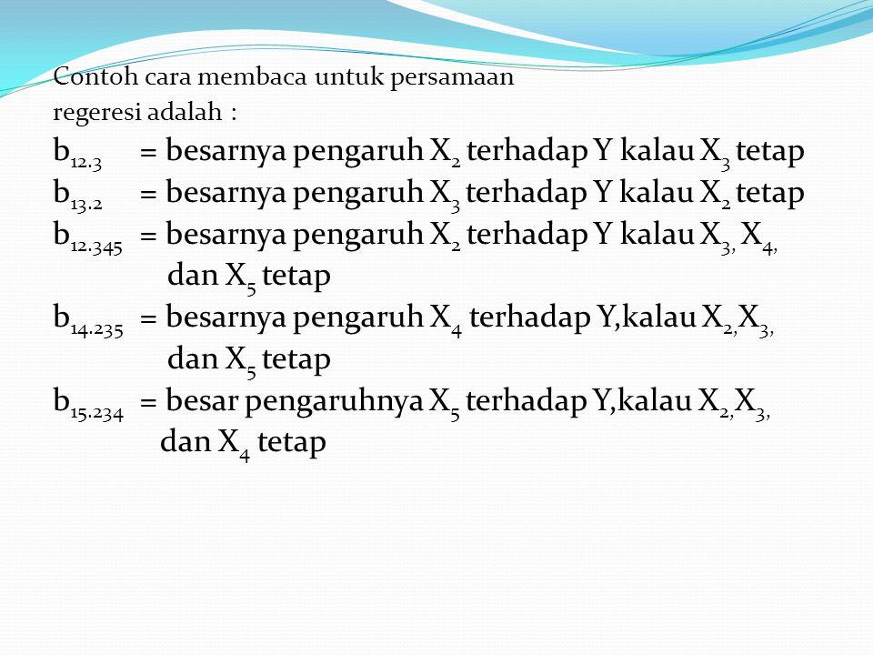 Contoh cara membaca untuk persamaan regeresi adalah : b 12.3 = besarnya pengaruh X 2 terhadap Y kalau X 3 tetap b 13.2 = besarnya pengaruh X 3 terhada