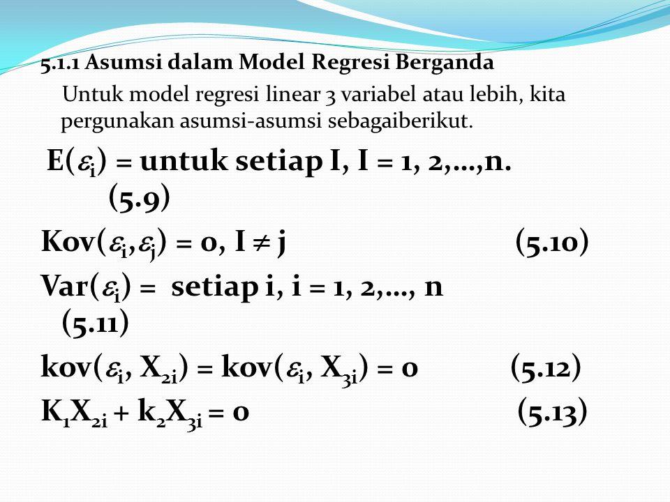 5.1.1 Asumsi dalam Model Regresi Berganda Untuk model regresi linear 3 variabel atau lebih, kita pergunakan asumsi-asumsi sebagaiberikut. E(  i ) = u
