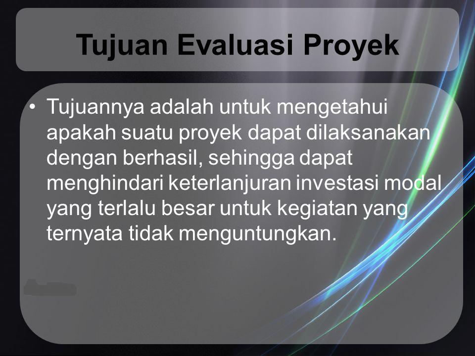 Dilihat dari kapan evaluasi dilakukan pada proyek, dapat dibedakan 4 jenis evaluasi proyek: Evaluasi terhadap usulan proyek yang akan didirikan (pre-project evaluation).