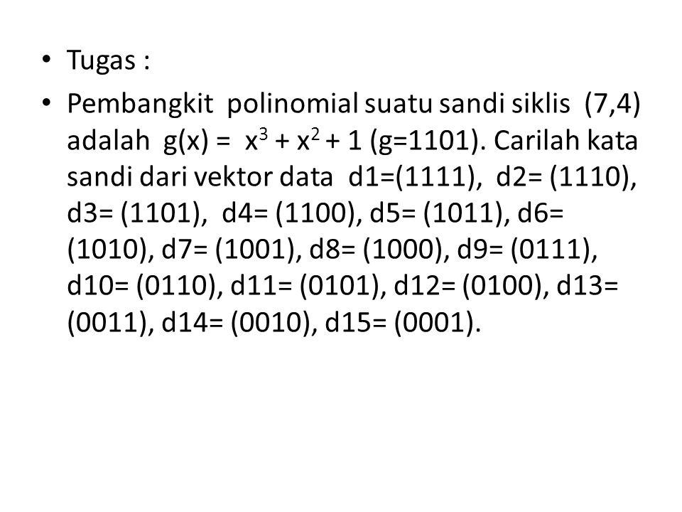 Tugas : Pembangkit polinomial suatu sandi siklis (7,4) adalah g(x) = x 3 + x 2 + 1 (g=1101). Carilah kata sandi dari vektor data d1=(1111), d2= (1110)