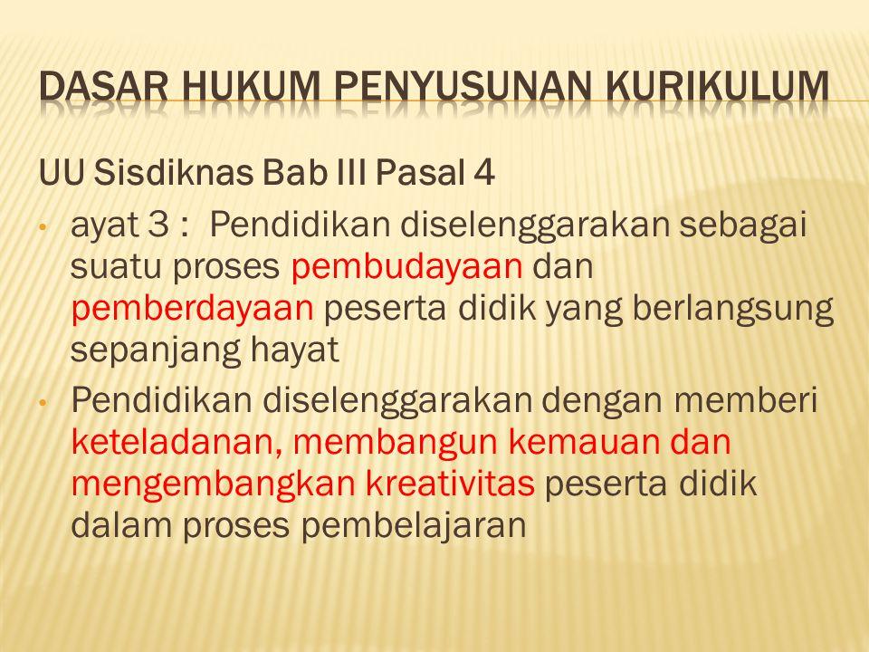 UU Sisdiknas Bab III Pasal 4 ayat 3 : Pendidikan diselenggarakan sebagai suatu proses pembudayaan dan pemberdayaan peserta didik yang berlangsung sepa