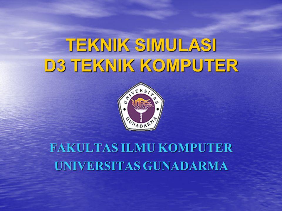 Verifikasi Program Komputer Simulasi Teknik 6: Teknik 6: Pada beberapa model simulasi, akan sangat menolong jika ada animasi output simulasi yang dapat diteliti.