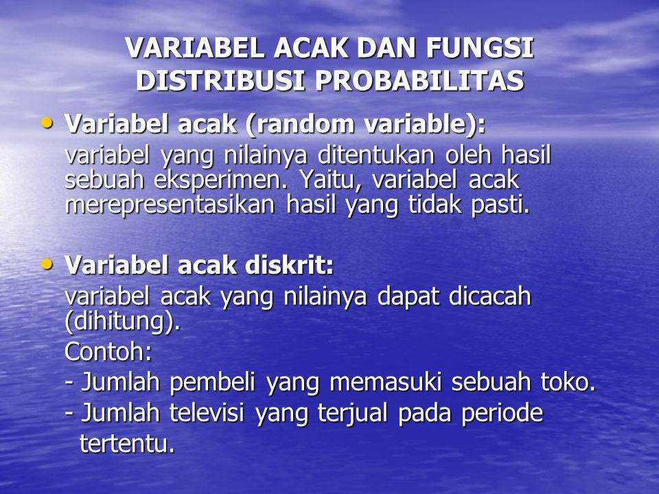 VARIABEL ACAK DAN FUNGSI DISTRIBUSI PROBABILITAS Variabel acak (random variable): Variabel acak (random variable): variabel yang nilainya ditentukan oleh hasil sebuah eksperimen.